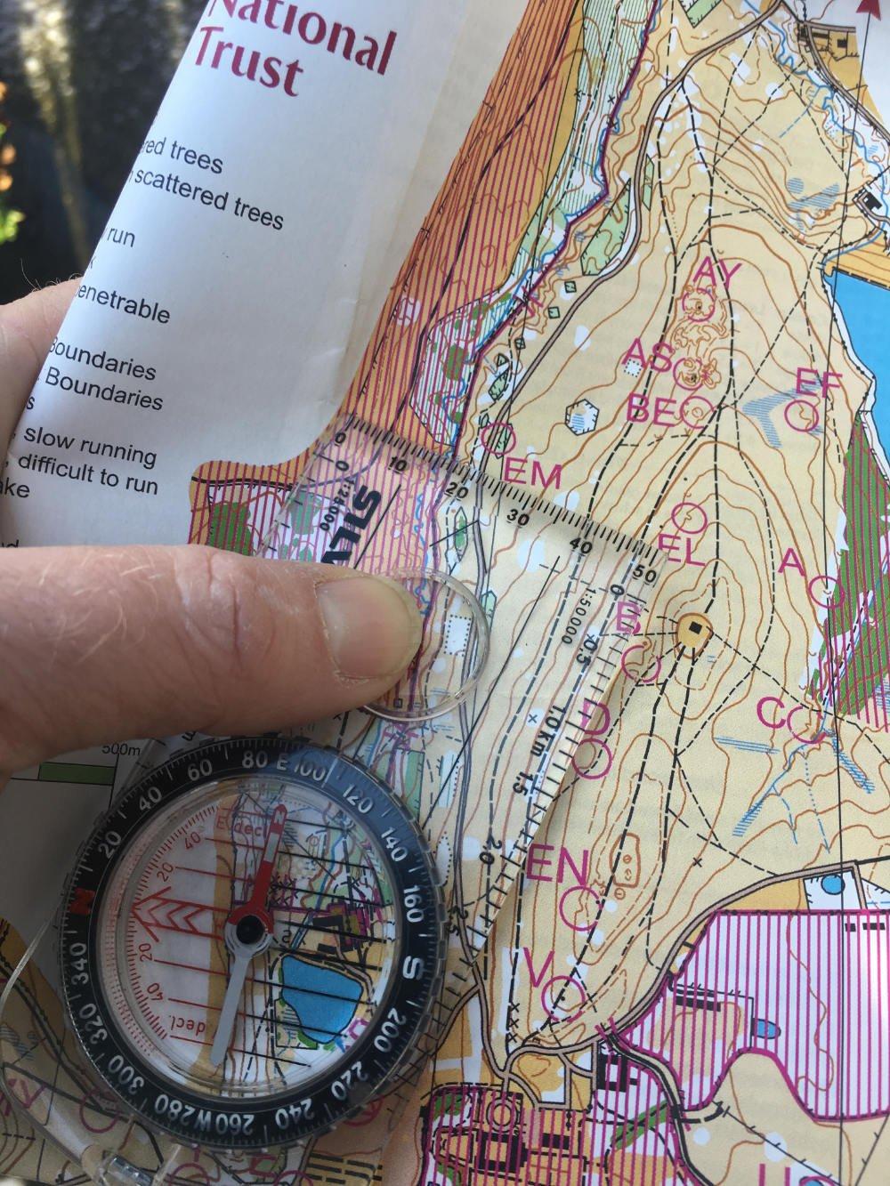 Compass on Orienteering map